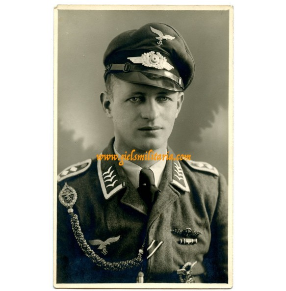 Portrait photo flighter pilot with fighter clasp, ribbon bar and pilot badge