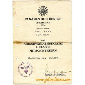 War Merit cross 1st class with swords award document to Ofeldw. J. Ager, Pi Btl 80, Italy 1944 + reverse context