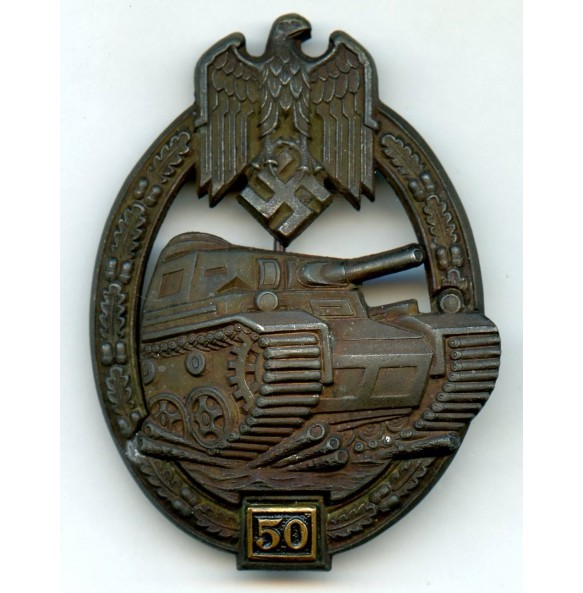 "Panzer assault badge in bronze 50 assaults by G. Brehmer ""GB"""