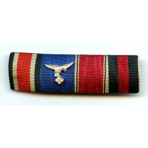 4 place EK2 ribbon bar with army 4 year Luftwaffe service award and both annexation medals