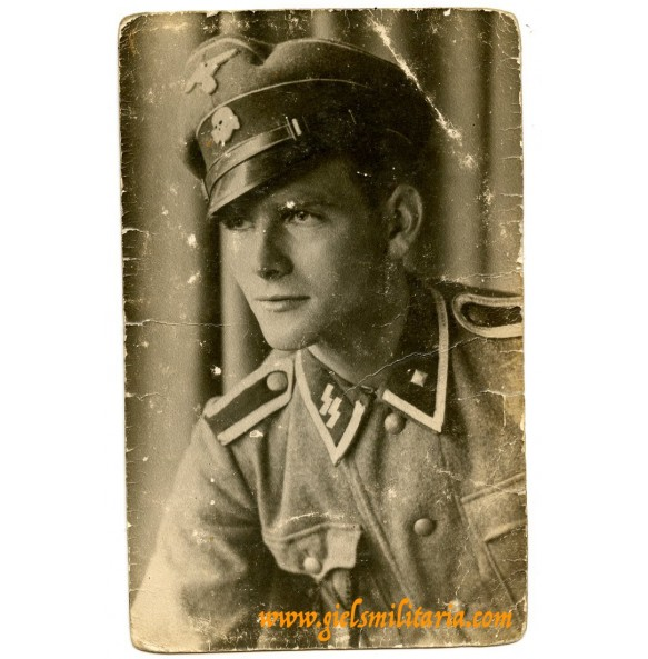 SS portrait photo SS-Unterscharführer with visor, KIA 6.2.1944