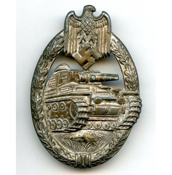 Panzer assault badge in silver by P. Meybauer, cut out swastika variant