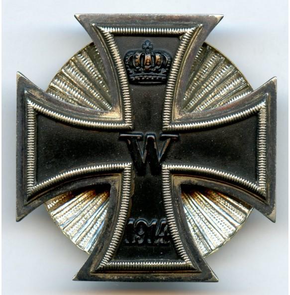 """WW1 Iron Cross 1st class by W. Deumer, clamshell screwback, """"schinkelform"""""""