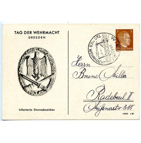 Postcard with general assault badge, Tag der Wehrmacht