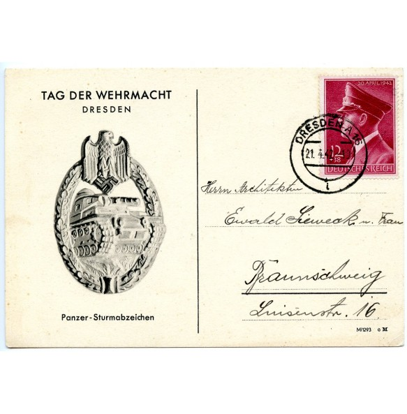 Postcard with panzer assault badge in silver, Tag der Wehrmacht