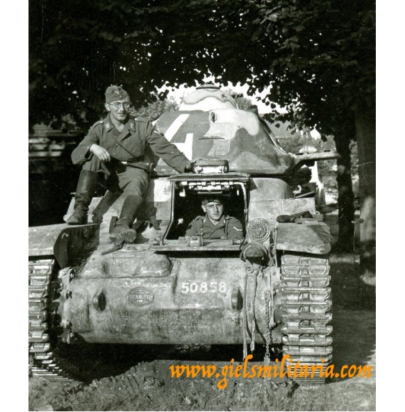 Private snapshot captured camouflaged French Renault tank 1940