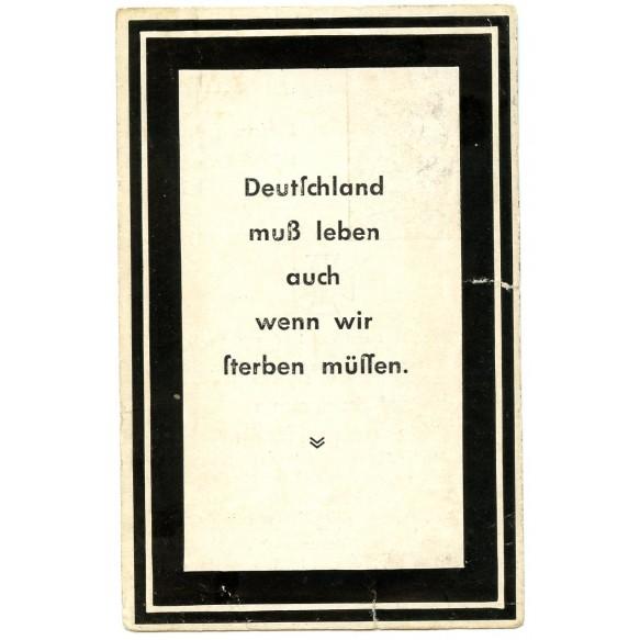 "SS death card to SS-Sturmmann H. Heckler, member of SS ""Totenkopf"""
