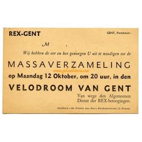 Personal unissued invitation card REX in Velodroom Ghent, Belgium