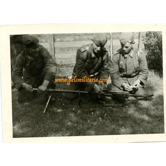 2 private snapshots anti tank training coastal artillery Aug.1944, camouflage helmets