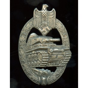 "Panzer assault badge in silver by ""AS"", cut out grass variant"