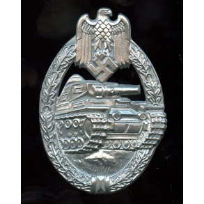 Panzer assault badge in silver by E.F. Wiedmann MINT