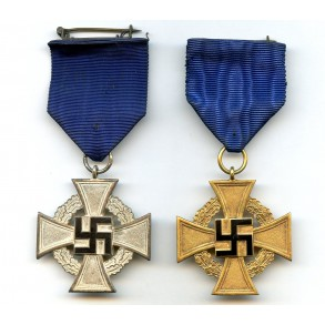 25 year and 40 year service medals.