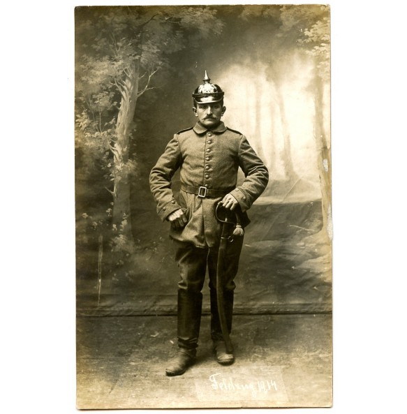 "WW1 portrait with spike helmet and sword ""Feldzug 1914"""