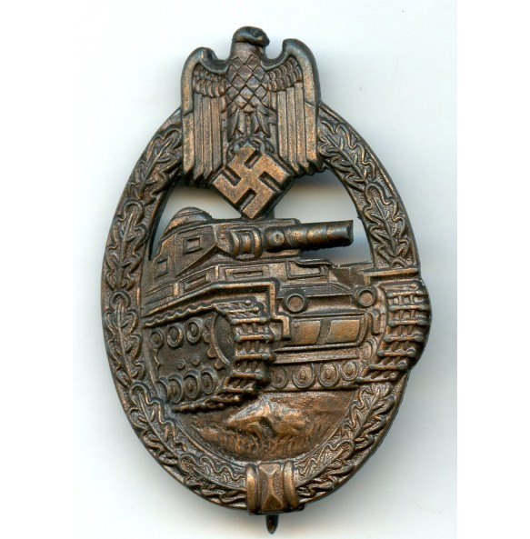 "Panzer assault badge in bronze by R. Souval ""R.S."" wide pin variant"