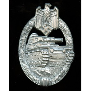 Panzer assault badge in silver by H. Aurich
