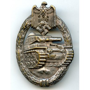 Panzer assault badge in silver by O. Schickle