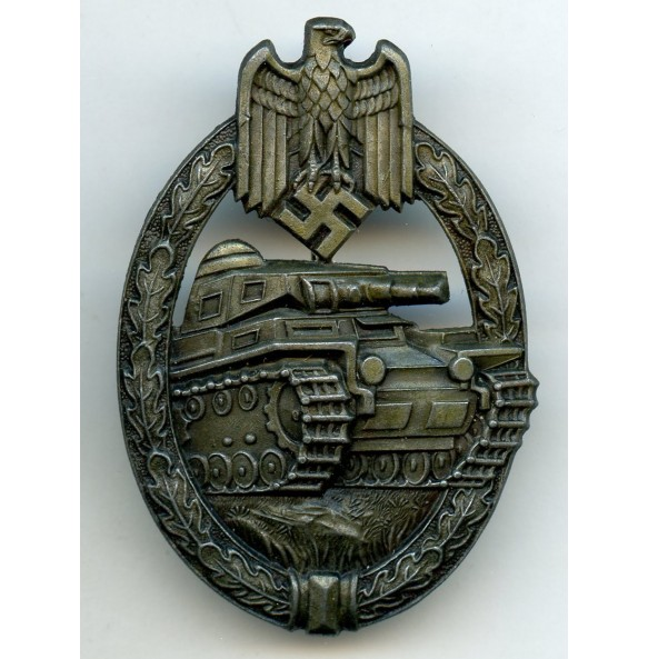 "Panzer assault badge in bronze by Hermann Aurich ""HA"""