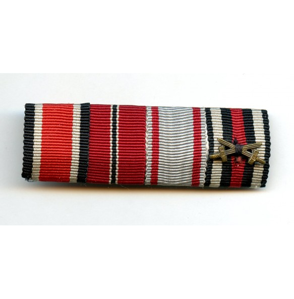 4 place ribbon bar with EK2 and east front medal