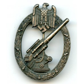 Army flak badge by C.E. Juncker, nickel silver variant!