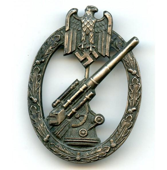 Army flak badge by C.E. Juncker, nickel silver variant!