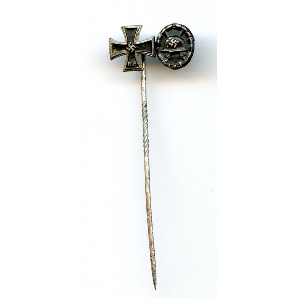 2 place mini with iron cross and wound badge in black