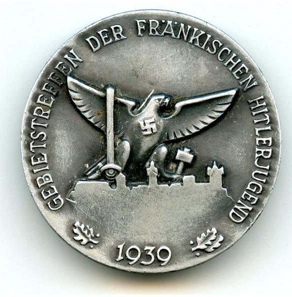 """Pin Gebietstreffen der Fränkischen Hitlerjugend 1939 by Sieper & Söhne """"M9/25"""""""