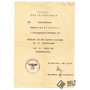 """General assault badge 25 assaults """"Sturmgeschütz-Brig. 243"""" award document """"Heeresgruppe Südukraine"""""""