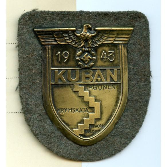 Kuban shield + award document to Uffz. F. Pöllinger