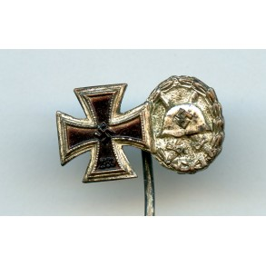 "Iron cross 2nd class + wound badge in silver miniature by Foerster & Barth ""L/21"""