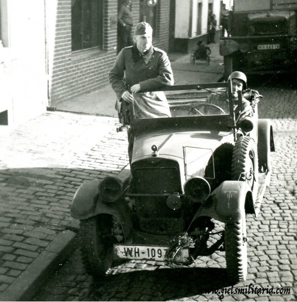 Private snapshot small car on Belgian streets 1940
