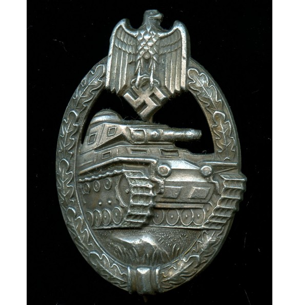"""Panzer assault badge in bronze by Steinhauer & Lück """"vertical crimp"""""""