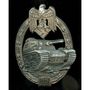 Panzer assault badge in silver 25 assaults by C.E. Juncker