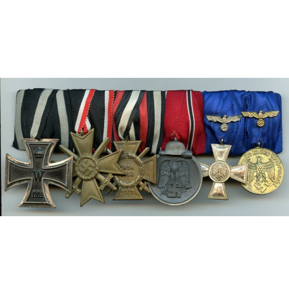 Medal bar long service officer with service medals and east front medal