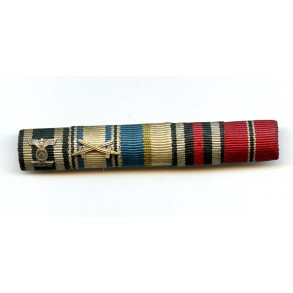 5 place ribbon bar with EK2 clasp and east front medal