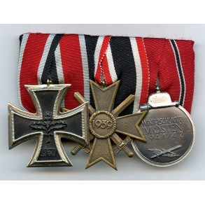 1957 3-place medal bar with EK2, eastern front medal and KVK2