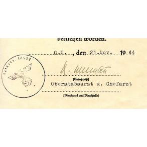 Wound badge in black award doc. Penning, FJ Pz Korps Hermann Göring