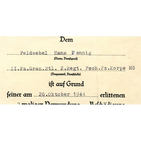 Wound badge in black award doc. Penning, FJ Pz Korps Hermann Göring