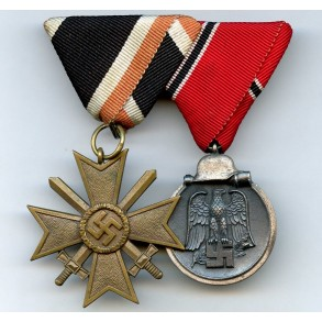 Medal bar War Merit Cross 2nd class + east front medal, Austrian mount