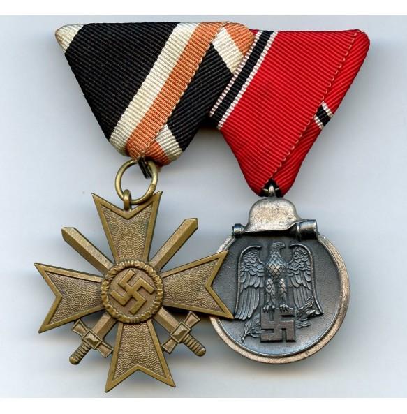 Medal bar War Merit Cross 2nd class + east front medal, Austrian mount