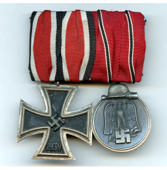 Medal bar east front medal and iron cross 2nd class by Klein & Quenzer