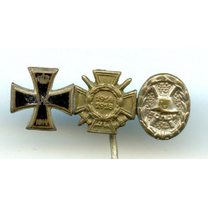 WW1 three place miniature, enamelled EK2 and wound badge in silver