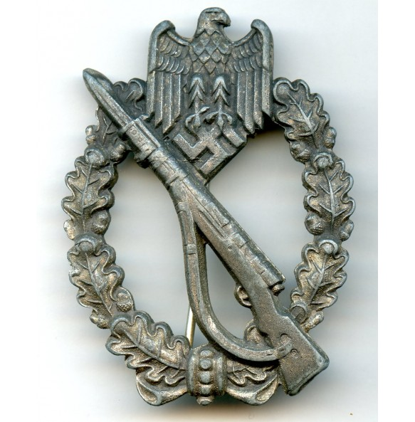 "Infantry assault badge in silver by F. Linden, big logo ""FLL"""