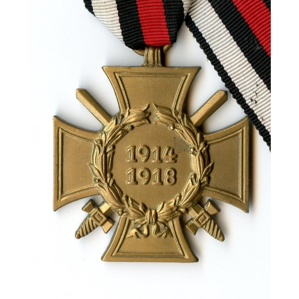 1914-18 Honour cross with award document to L. Desinger from Amberg 1934