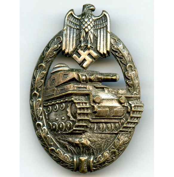 Panzer assault badge in silver by C.E. Juncker, tombak coated example!
