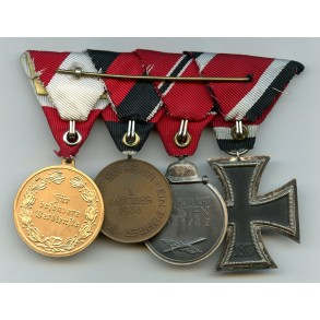 4 place Austrian medal bar, EK2, Ost, annex and merit medal