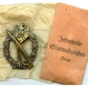 "Infantry Assault Badge in Bronze by Josef Feix & Söhne ""JFS"" + package"