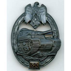 "Panzer assault badge in silver 50 assaults by G. Brehmer ""G.B."""