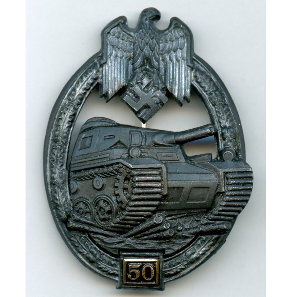 """Panzer assault badge in silver 50 assaults by G. Brehmer """"G.B."""""""