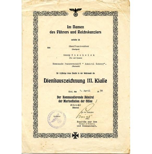 "12 year service award award document ""Admiral Scheer"""