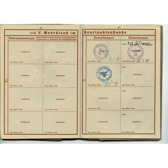 Wehrpass to Uffz. J. Windrock, Flak in Westen (Luftgau Belgien-Nordfrankreich), Flak badge, Kommandogerät 36/40!!
